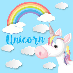 Poster design with unicorn and blue sky