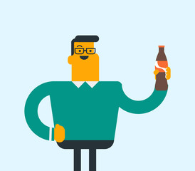 Caucasian man holding fresh soda beverage in a glass bottle. Young man standing with a bottle of soda. Cheerful man drinking soda from a bottle. Vector cartoon illustration. Square layout.