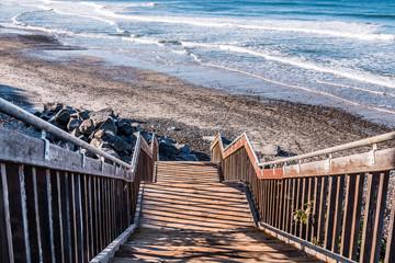 Staircase providing beach access at South Carlsbad State Beach in San Diego, California.
