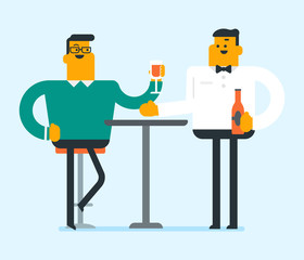 Caucasian man sitting at the table with a glass and a bottle of wine. Young man drinking wine in the restaurant. Man enjoying a drink at the wine bar. Vector cartoon illustration. Square layout.