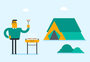 Cheerful caucasian man cooking steak on the barbecue outdoors. Young smiling man holding kitchen tongs with a steak while standing near the barbecue. Vector cartoon illustration. Horizontal layout.