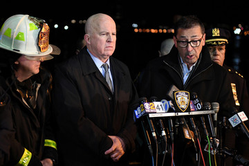 FDNY Commissioner Daniel Nigro speaks during a press conference alongside NYPD Commissioner James O'Neill after a chartered Liberty Helicopters helicopter crashed into the East River in New York