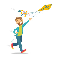 Young caucasian white man flying a colourful kite. Cheerful hipster person with beard running and playing with a kite. Vector cartoon illustration isolated on white background. Square layout.
