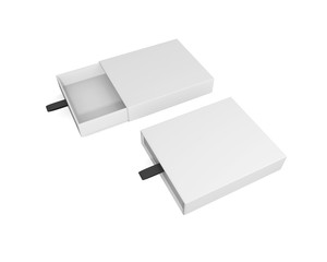 two blank boxes branding mockup on isoleted on white background . 3d rendering