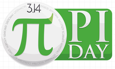 Round Button over Squared Label to Celebrate Pi Day, Vector Illustration