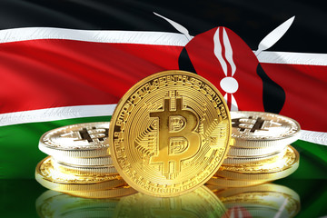 Bitcoin coins on  Kenya's Flag, Cryptocurrency, Digital money concept photo