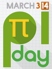 Flat Design with Long Shadow for Pi Day Celebration, Vector Illustration