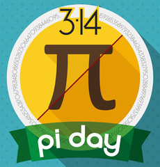 Commemorative Pin for Pi Day Celebration in Flat Style, Vector Illustration