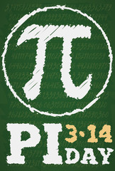 Chalkboard Drawing with Pi Series and Symbol for Pi Day, Vector Illustration