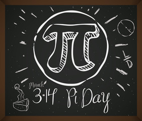 Doodle Drawing with Symbol, Pie and Date for Pi Day, Vector Illustration