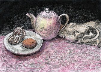 Still life with a teapot and a biscuit, which is painted in the old style with watercolors and a pen
