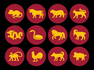 Chinese horoscope silhouette, rat, bull, ox, tiger, cat, dragon, snake, horse, goat, monkey, rooster, dog, pig, 2025, 2024, 2023, 2022, 2021, 2020, 2019 years symbol animal set