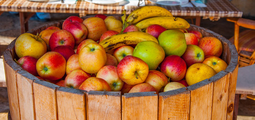 Fruits in the wooden barell