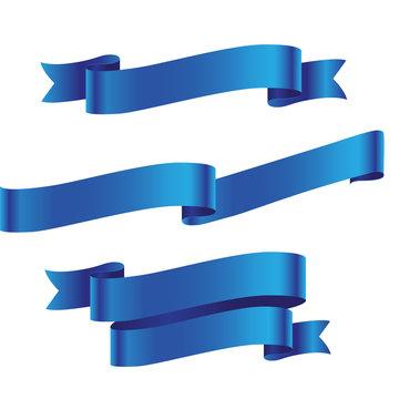 Blue detailed ribbon isolated on white background