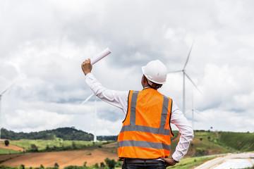 Technician Engineer in Wind Turbine Power Generator Station project is success.