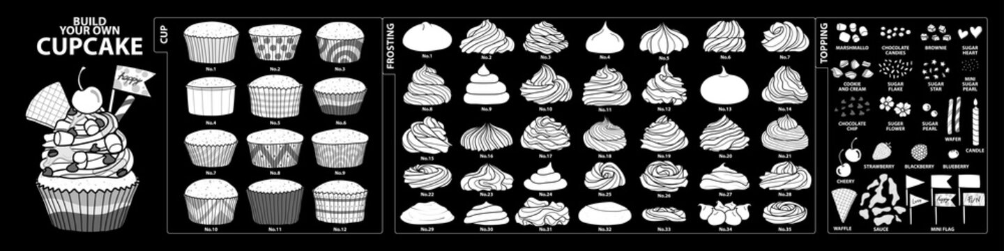 Set of isolated white silhouette cups, frosting and toppings for build your own cupcake. Cute hand drawn style in white plane without outline.