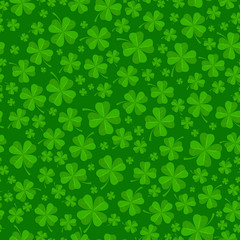 Saint Patricks day background with lucky clover leaves