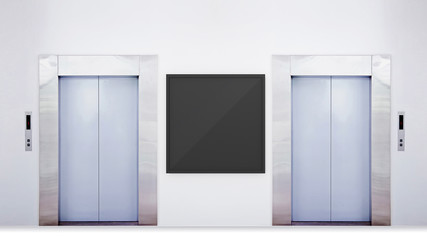 Blank vertical billboard or poster in the elevator hall. 3D illustration of advertising surface.