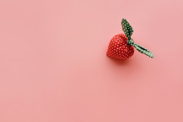 Strawberry handicraft made from cloth on pastel color.summer concept