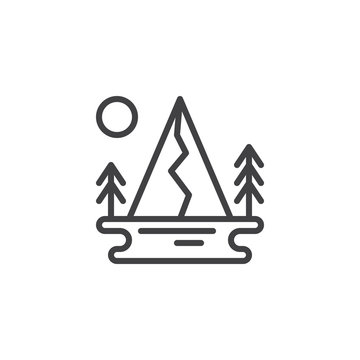 Lake, mountain forest and sun outline icon. linear style sign for mobile concept and web design. Forest nature landscape simple line vector icon. Symbol, logo illustration