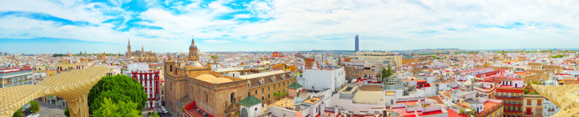 Fotomurales - Panoramic view of the city of Seville from the observation platf