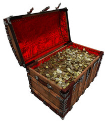 Gold coins in old pirate treasure chest