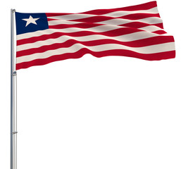 Isolate flag of Liberia on a flagpole fluttering in the wind on a white background, 3d rendering.