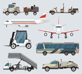 Passenger airport ground technics set. Tow truck, fright forklift, passenger ladder, modern bus, baggage cart, fuel tanker vector illustration. Aviation terminal logistics and infrastructure elements.