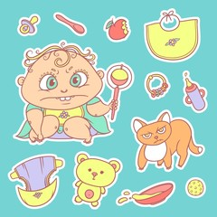Vector set color sketch illustrations stickers of the angry child and the kitten. Hygiene items, baby care and toys. The flat chubby curly irate kid with big eyes in bright clothes and red cat