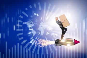 Woman in worldwide global delivery service