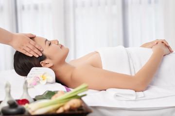 Enjoying head massage