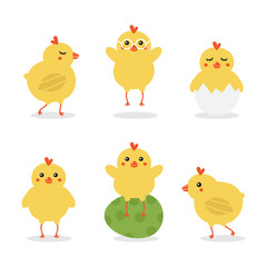 Cute cartoon easter baby chicken characters doing different activities, walking, jumping, sitting on painted easter egg and in an egg shell.