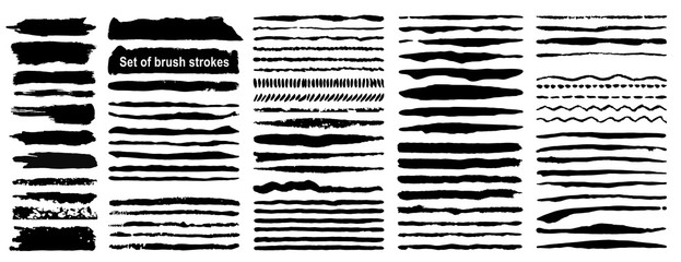 Vector large set of 80 grunge ink brush strokes. Black artistic paint, hand drawn. Dry Brush Stroke elements collection isolated on white background.