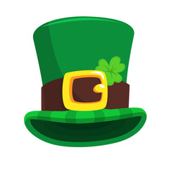 St. Patrick's Day green leprechaun hat with clover. Vector illustration