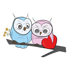 Two cute drawn Owls sits on a branch. Happy Valentine's Day. vector illustration