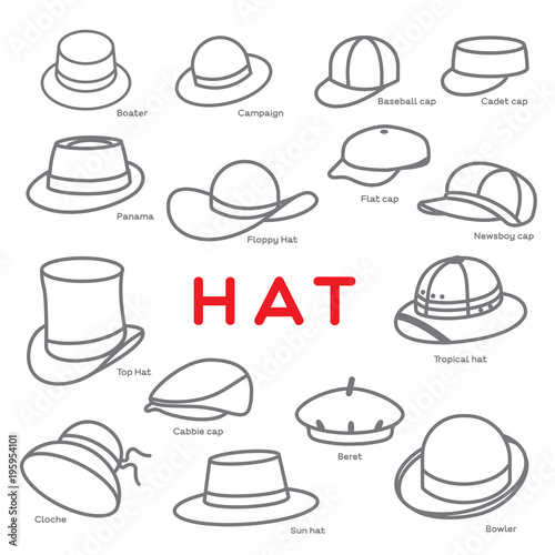 HAT Different styles of Hat are created as icon on white