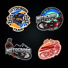 Motocross logo set sport