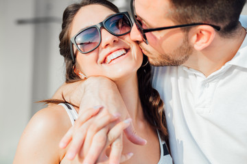 Closeup Portrait of Happy Smilling Couple in Love