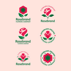 Rose brand vector logo icon illustration collection