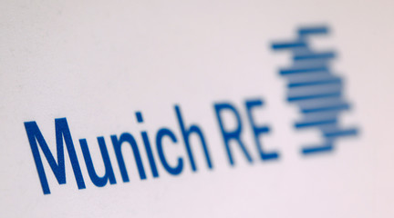 Company logo of German reinsurer Munich Re is seen before company's news conference in Munich