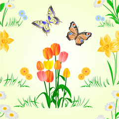 Seamless texture Happy Easter decoration  daffodil and tulips  on green grass and butterfly, pussy willov and bow. Spring  flowers set four vector illustration editable hand draw