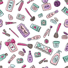 Makeup products set. Cosmetics. Seamless Hand drawn Vector Illustration.