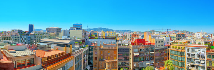 Wall Mural - Panorama of the center of Barcelona, the capital of the Autonomy