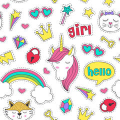 seamless pattern with stickers for girl - vector illustration, eps
