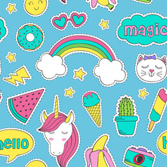 seamless pattern with funny stickers - vector illustration, eps