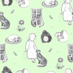 Goodnight set, hand-drawn design elements. Mom and baby. Folk. Seamless pattern