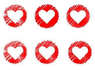 White hearts on red grunge background set, Valentine day, vector illustration vintage design element.