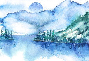 Watercolor mountain landscape, blue, purple  mountains, peak, forest silhouette, reflection in the river, lake, clouds, fog. Watercolor painting, illustration, landscape
