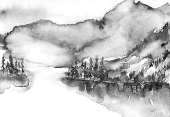 Watercolor landscape. Black and white. Silhouettes of forest, mountains, trees, reflection in the water. A beautiful countryside landscape. Vintage art illustration.