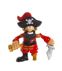 figurine of a pirate on a white isolated background